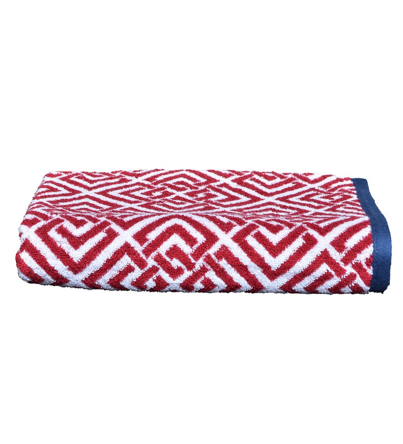 Red Cotton 27.17 x 51.18 Inch Martin Bath Towel by Avira Home