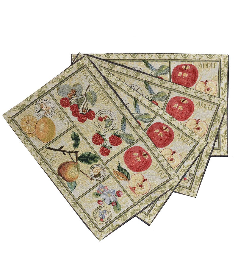 Avira Home Summer Fruits Machine Washable Multicolour Cotton & Polyester Placemats - Set of 4