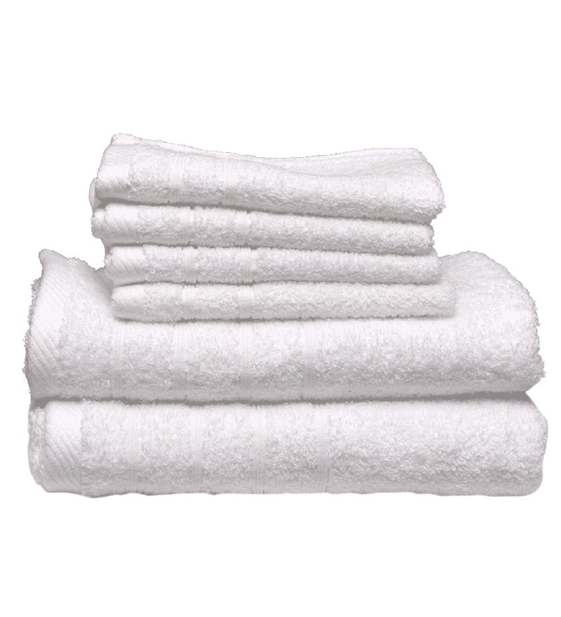 White Cotton Everyday Towels - Set of 6 by Avira Home