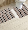 Avira Home Beige and Brown Cotton 20 x 30, 20 x 20 Bath Mat - Set of 2