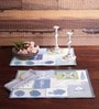 Avira Home Blue Cotton Floral Stalks Table Mat - Set of 2