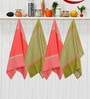 Avira Home Royal Classic Red & Green Cotton Kitchen Towel - Set of 4