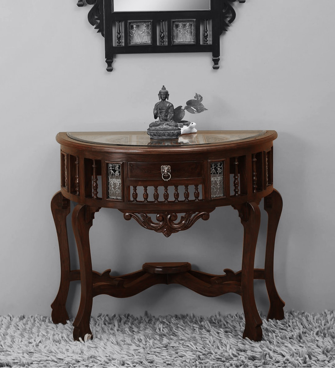 Awadh Console Table in Walnut Finish