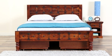 Ayasa Solidwood Queen Bed With Storage In Honey Oak Finish