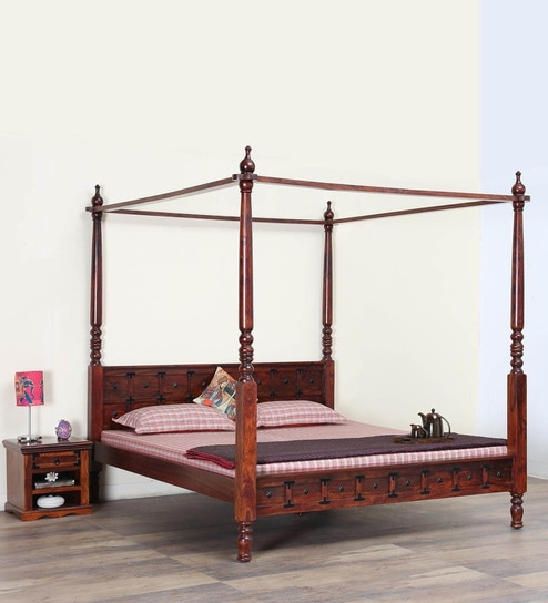 Buy Ayasa Solid Wood King Size Poster Bed In Honey Oak Finish By