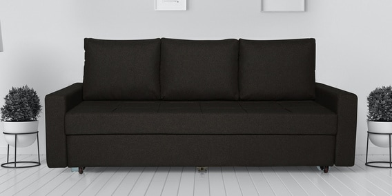Ayusho 3 Seater Sofa Bed With, Brown Cloth Sofa Bed