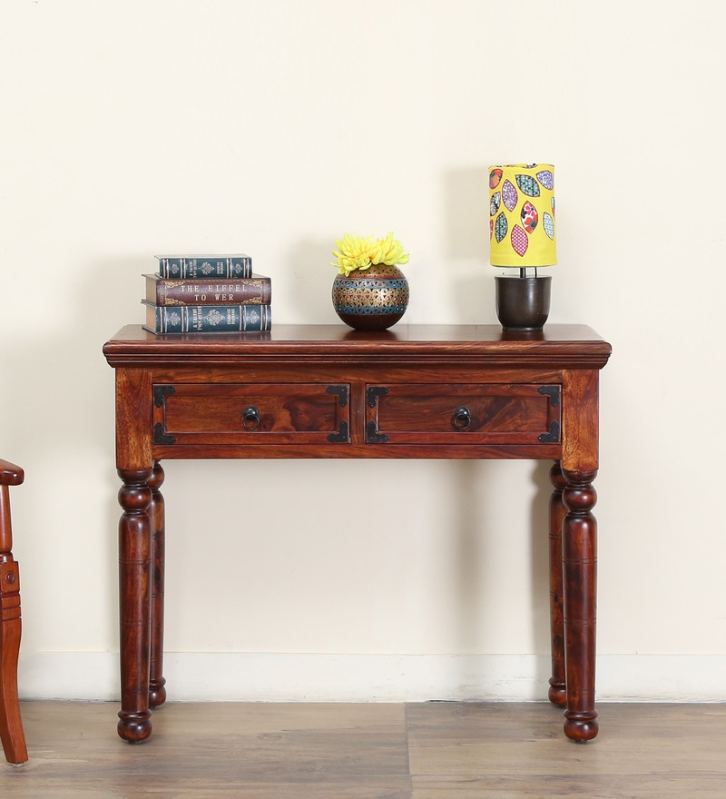Ayasa Console Table in Honey oak Finish by Mudramark