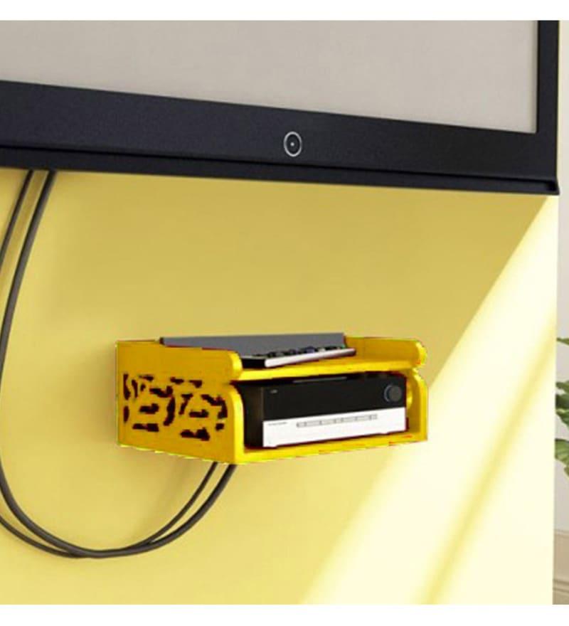 Yellow MDF Set of Box Wall Shelf by AYMH