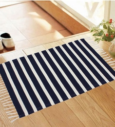 Azaani Navy Blue And White Cotton Stripes And Checks Rug - Set Of 3