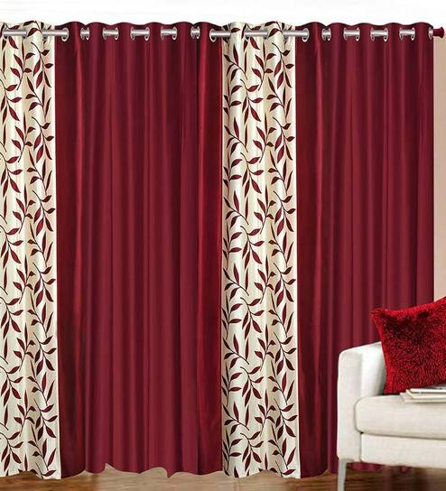 buy solid polyester 7 feet long door curtain set of 4 by azaani