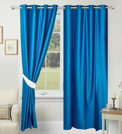 buy solid polyester 7 feet long door curtain set of 2 by. Black Bedroom Furniture Sets. Home Design Ideas