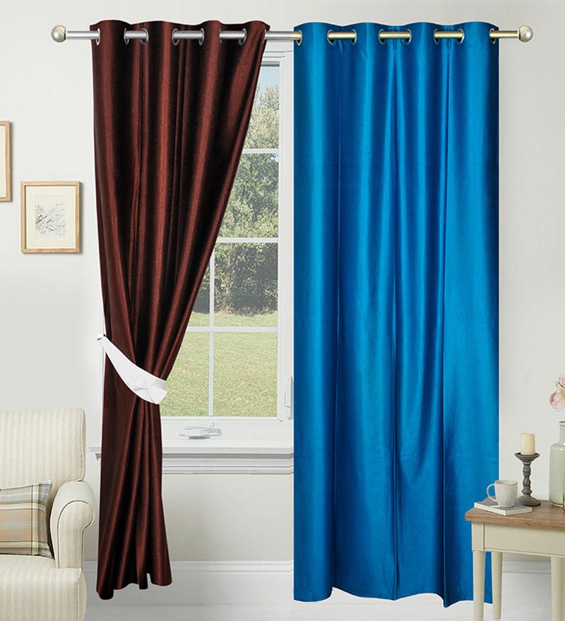 Blue & Brown Polyester 84 x 48 Inch Solid Door Curtain - Set of 2 by Azaani