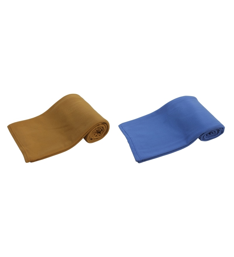 Blue and Brown Polyester Single Size Blanket - Set of 2 by Azaani