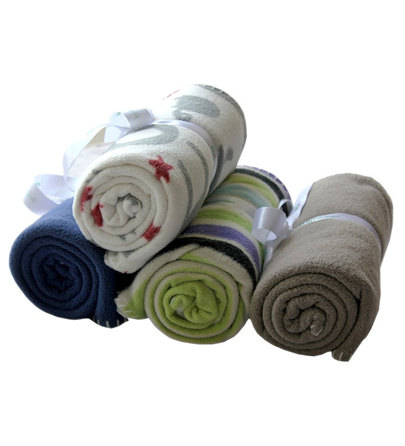 Blue Polyester Baby Blanket - Set of 4 by Azaani