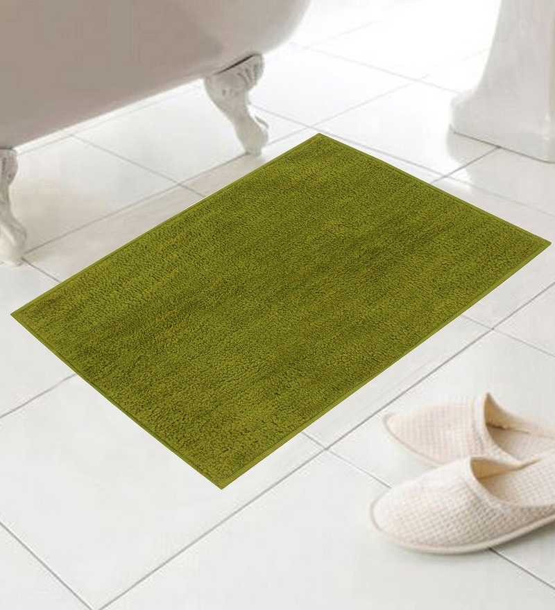 Green Cotton Micro Bath Mat - Set of 2 by Azaani