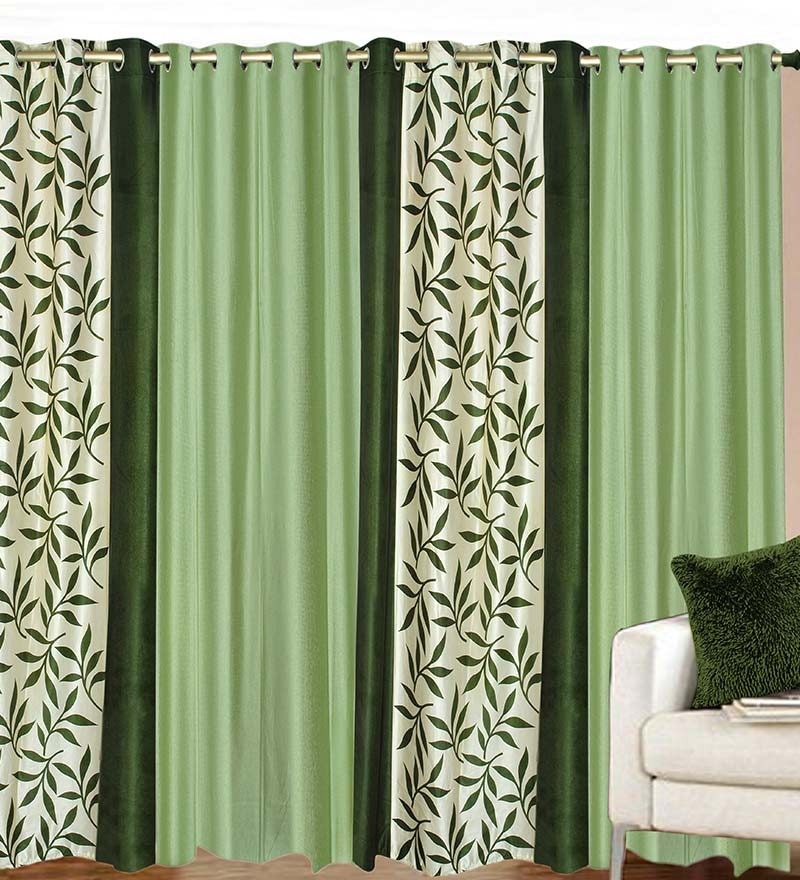 84 x 48 Inch Green Polyester Door Curtain - Set of 4 by Azaani