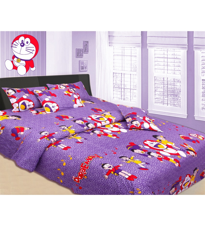 Azaani Doraemon King-Size Cotton Bedsheet in Purple with Pillow Covers