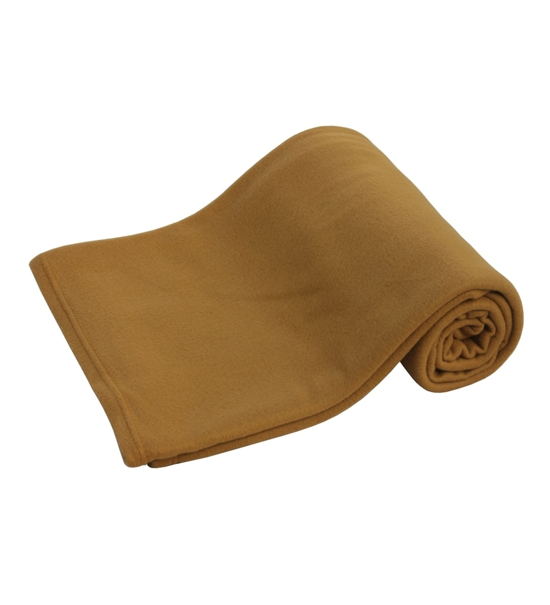 Golden Polyester Single Size Blanket by Azaani