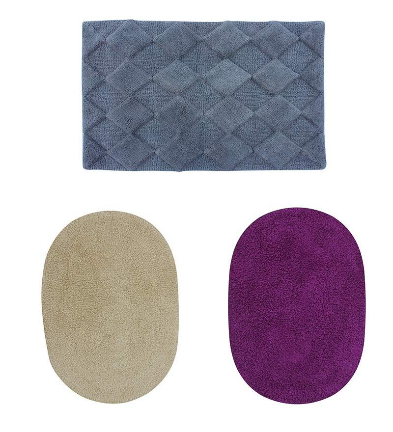 Azaani Grey With 2 Oval Beige Purple 100% Cotton Bath Mat - Set of 3