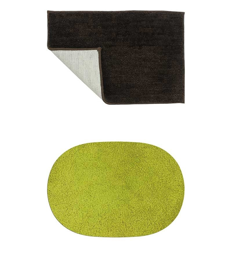 Azaani Micro Dark Brown & Green 2-piece Bathmat Set