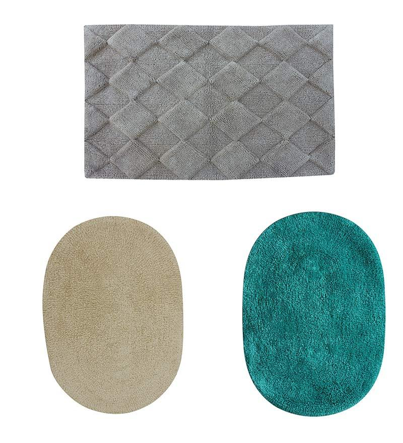 Azaani Gray 100% Cotton Bath Mat - Set of 3