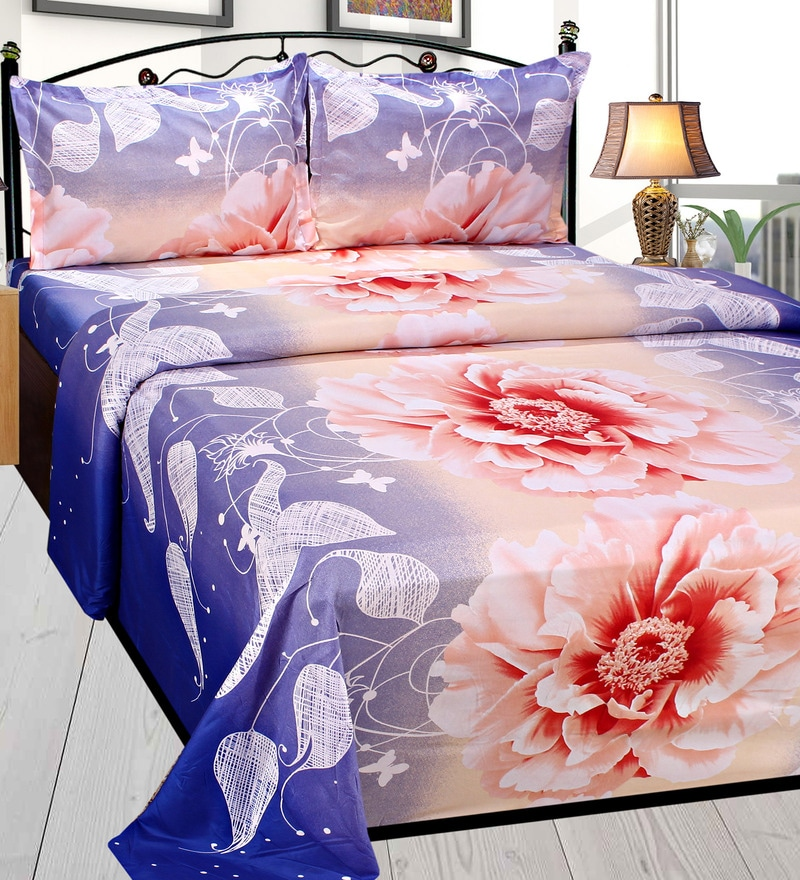 Multicolour Poly Cotton Double Size Bedsheet - Set Of 3 by Azaani