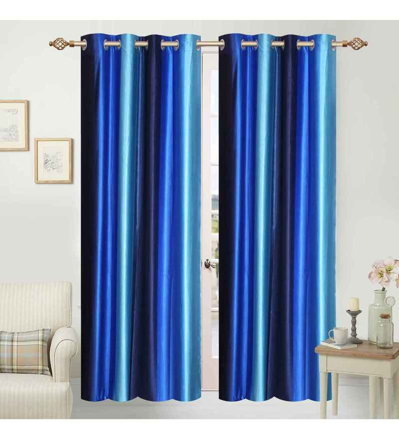 Multicolour Polyester 48 x 84 Inch Ombre Eyelet Door Curtains - Set of 2 by Azaani