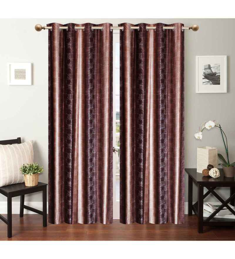 Multicolour Polyester 84 x 48 Inch Distrace Eyelet Door Curtains - Set of 2 by Azaani