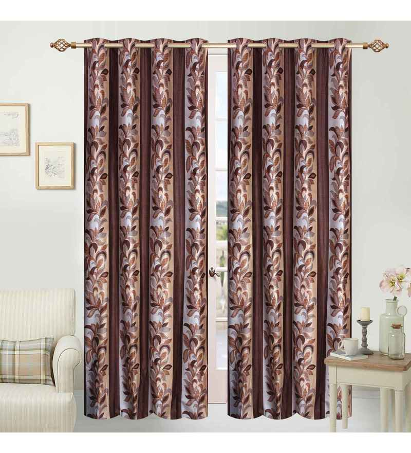 Multicolour Polyester 84 x 48 Inch Floral Eyelet Door Curtains - Set of 2 by Azaani