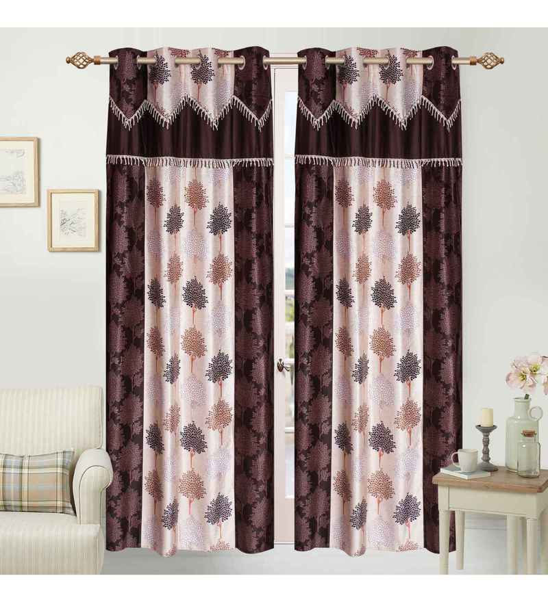Multicolour Polyester 84 x 48 Inch Spira Leaf Eyelet Door Curtains - Set of 2 by Azaani