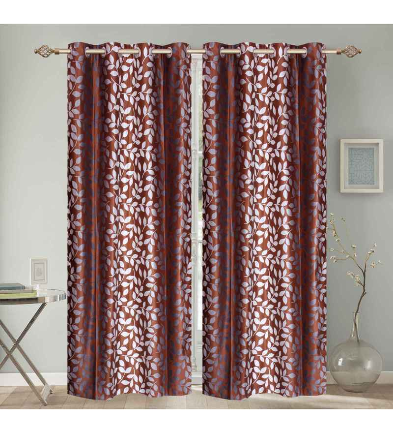 Multicolour Polyester 84 x 48 Inch Tropical Leaf Eyelet Door Curtains - Set of 2 by Azaani