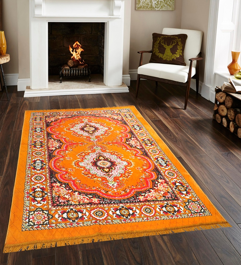 Orange Jute Traditional Design Quilted Carpet by Azaani
