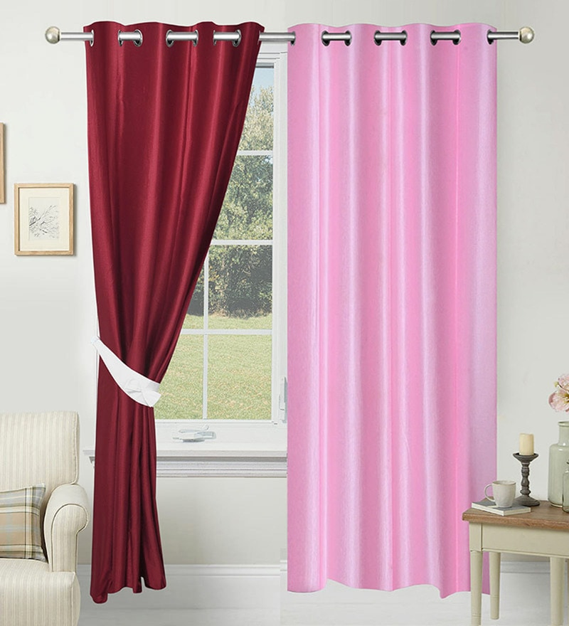 Pink and Marron Polyester 84 x 48 Inch Solid Door Curtain - Set of 2 by Azaani