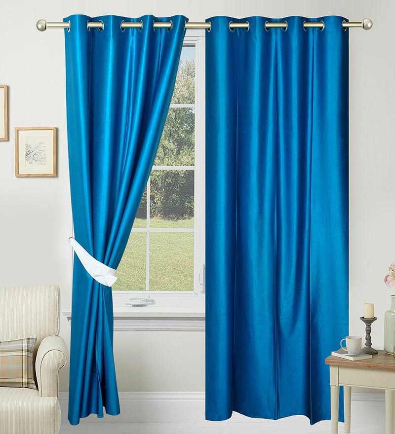 84 x 48 Inch Blue Polyester Door Curtain - Set of 2 by Azaani