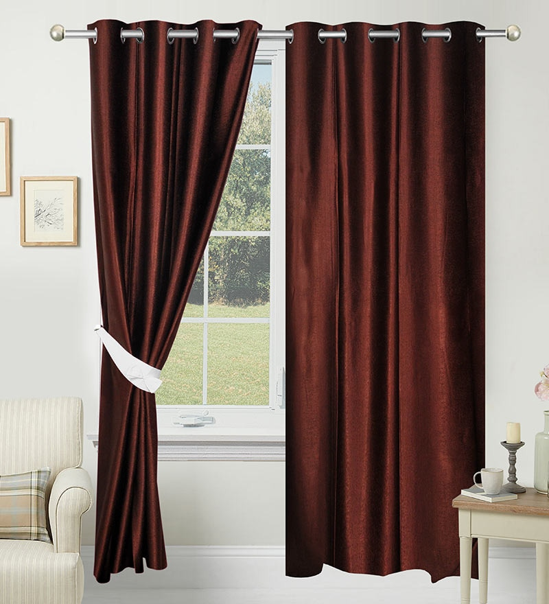 84 x 48 Inch Brown Polyester Door Curtain - Set of 2 by Azaani