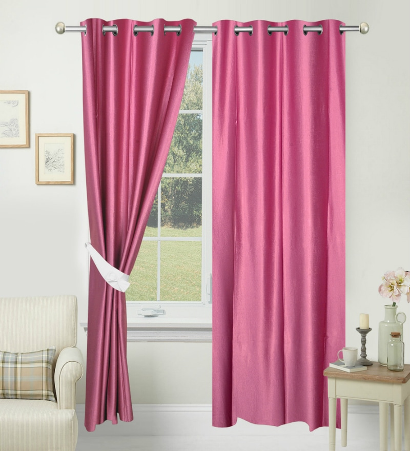 84 x 48 Inch Pink Polyester Door Curtain - Set of 2 by Azaani