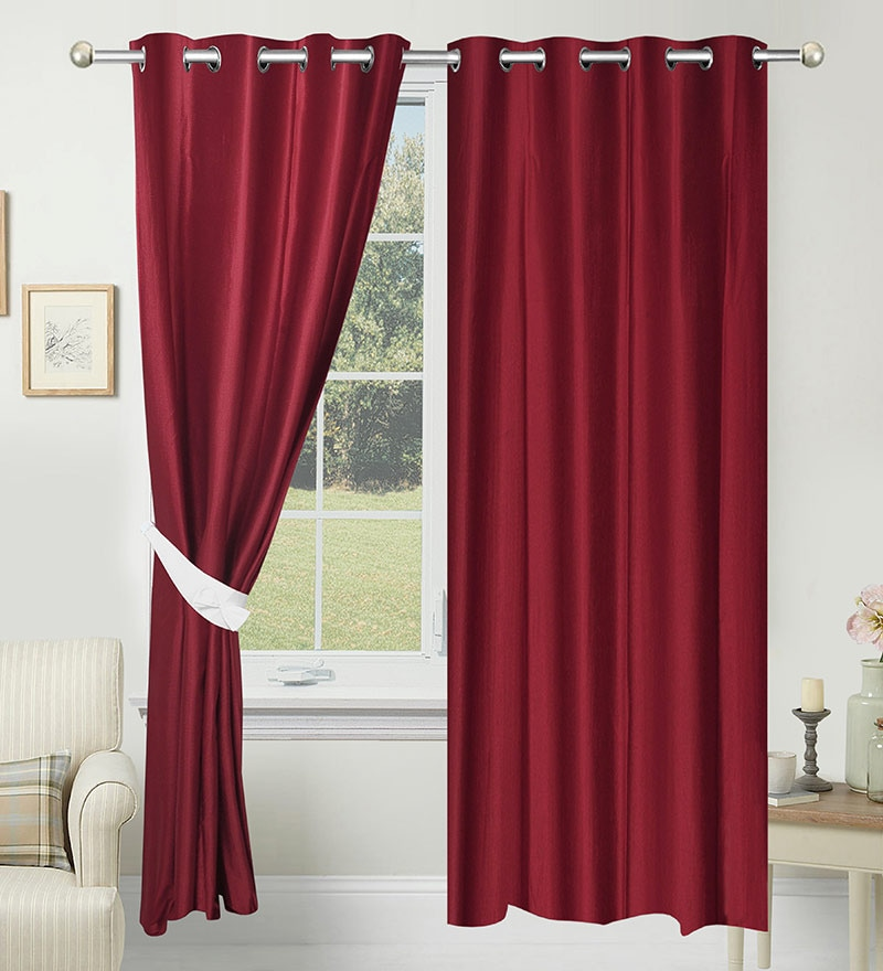 Buy Solid Polyester 7 Feet Long Door Curtain Set Of 2 By