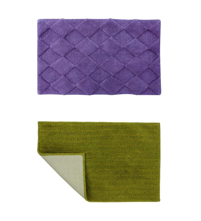 Azaani Purple & Green 2-piece Bathmat Set