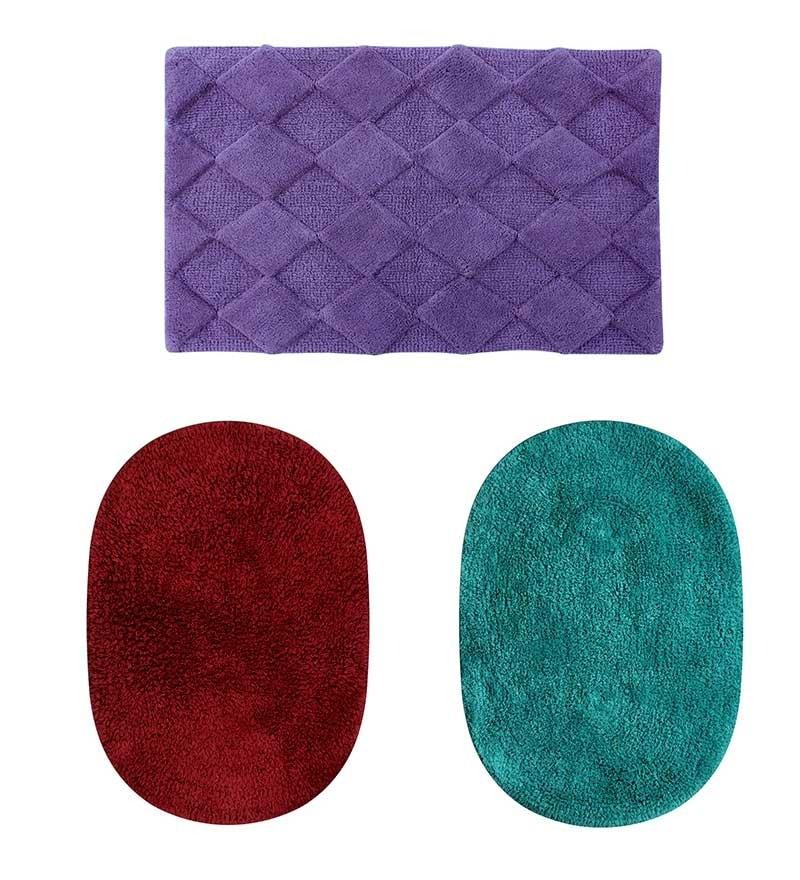 Azaani Red 100% Cotton Bath Mat - Set of 3