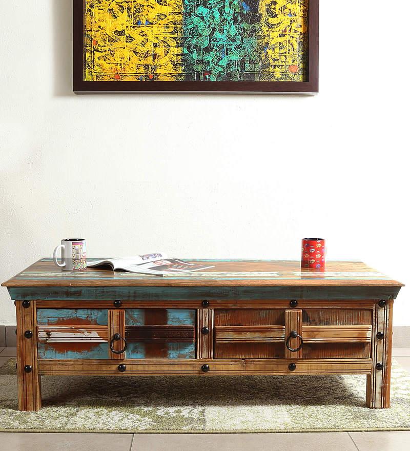Azealia Coffee Table in Distress Finish by Bohemiana