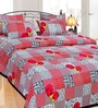 Azaani Aspire Box Red Cotton Floral Double Bed Sheet (with Pillow Covers)
