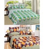 Azaani  Green Rose with Check and Green Multi-check Cotton 90 x 90 Inch Double Bed Sheet - Set of 2