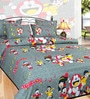 Azaani Doremon Black Cotton Floral Double Bed Sheet (with Pillow Covers)