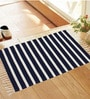 Navy Blue and White Cotton Stripes and Checks Rug - Set of 3 by Azaani