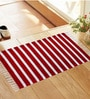 Red and White Cotton Stripes and Checks Rug - Set of 3 by Azaani