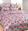 Azaani Red Cotton Floral Double Bed Sheet (with Pillow Covers)