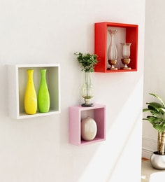 B: RedM: WhiteS: Pink Engineered Wood Cube Wall Shelves - Set Of 3 By Home Sparkle