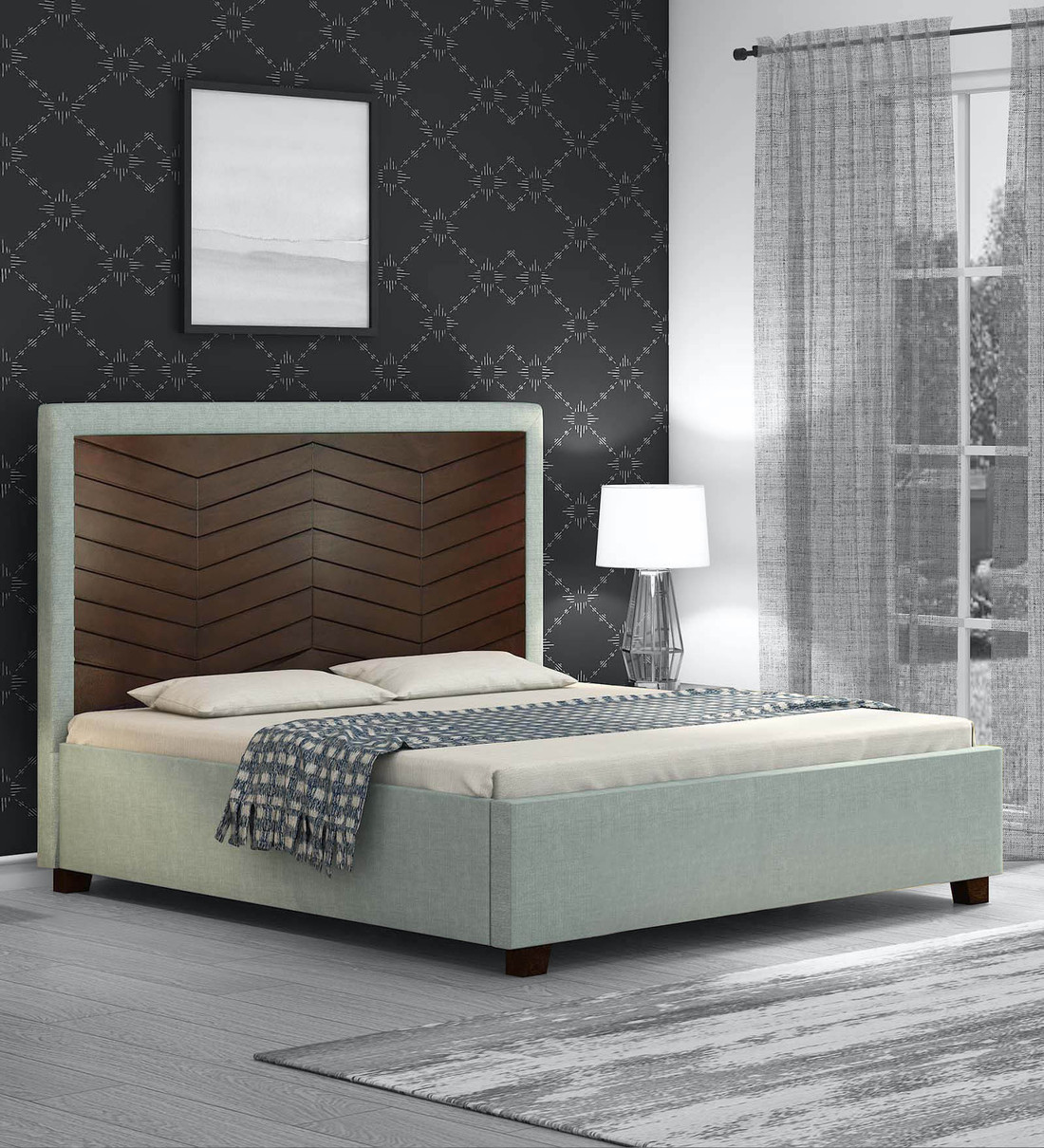 Buy Bautista Queen Size Bed In Grey Colour Casacraft By Pepperfry Online Queen Size Upholstered Beds Beds Furniture Pepperfry Product