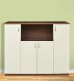 Ballie Back Storage Cabinet in Walnut & Frosty White Finish