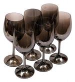 Bar World Fancy Metallic Glass 500 ML Wine Glasses - Set of 6